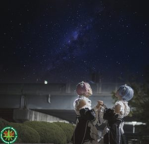 深夜の久宝寺緑地でコスプレポートレート撮影